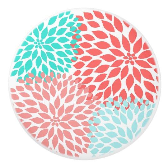 Coral Teal Dahlias home decor, modern floral Ceramic Knob
