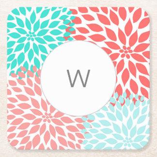 Coral Teal Dahlias monogram paper coasters