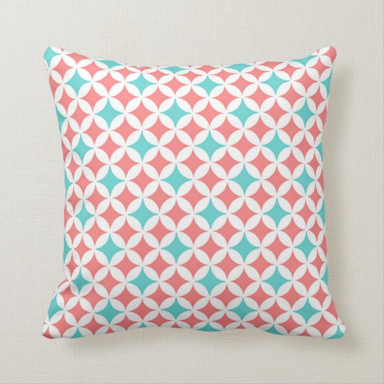 Coral Teal Geometric Pattern Decorative Pillow