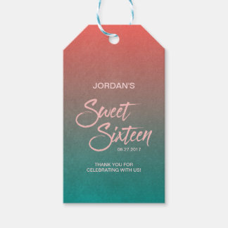 Coral & Teal Gradient Sweet 16 Birthday Thank You Gift Tags