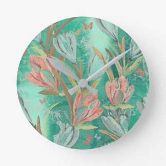 Coral Teal Green Floral Coffe Blue Ivory Butterfly Wallclock