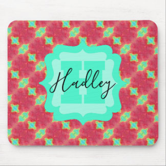 Coral/Teal Watercolor Pattern with Custom Text Mouse Pad