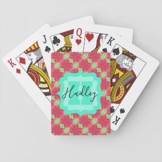 Coral/Teal Watercolor Pattern with Custom Text Playing Cards