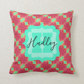 Coral/Teal Watercolor Pattern with Custom Text Throw Pillow