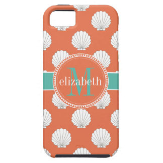 Coral Teal White Clamshells Seashells Monogram Case For The iPhone 5