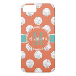 Coral Teal White Clamshells Seashells Monogram Case-Mate iPhone Case