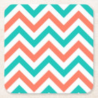 Coral, Teal, White Large Chevron ZigZag Pattern Square Paper Coaster
