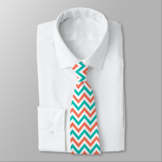 Coral, Teal, White Large Chevron ZigZag Pattern Tie