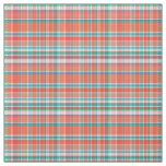 Coral, Teal, White Preppy Madras Style Plaid Sz3#2 Fabric