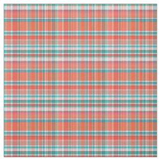 Coral, Teal, White Preppy Madras Style Plaid Sz3#2 Fabric