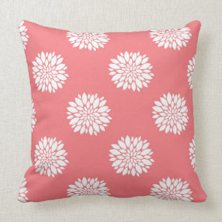 Coral Throw Pillow with white dahlias