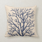 Coral Tree in Dark Navy Blue Throw Pillow