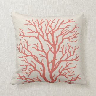 Coral Tree Nautical in Coral Pink Throw Pillow