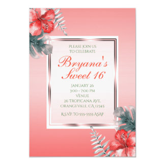 Coral Tropical Hibiscus & Leaves Party Invitations