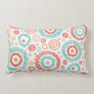 Coral & Turquoise Doodle ZigZag Circles Abstract Lumbar Pillow