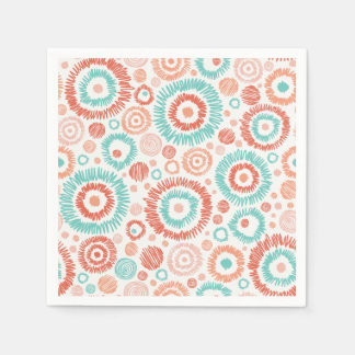 Coral & Turquoise Doodle ZigZag Circles Abstract Paper Napkin