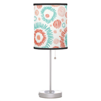 Coral & Turquoise Doodle ZigZag Circles Abstract Table Lamp
