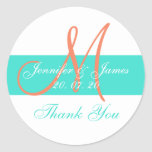 Coral Turquoise Modern Wedding Thank You Stickers