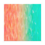 Coral & Turquoise Ombre Watercolor Teal Orange Gallery Wrapped Canvas