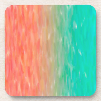 Coral & Turquoise Ombre Watercolor Teal Orange Coaster