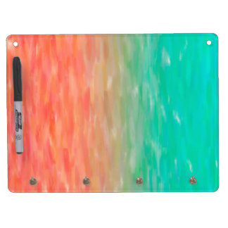Coral & Turquoise Ombre Watercolor Teal Orange Dry Erase Board With Keychain Holder