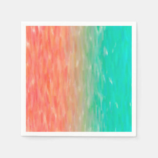 Coral & Turquoise Ombre Watercolor Teal Orange Napkin