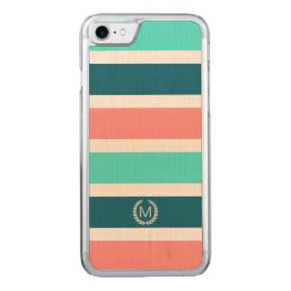 Coral, Turquoise & Teal Stripe Initial Monogram Carved iPhone 8/7 Case