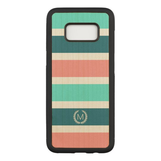 Coral, Turquoise & Teal Striped Monogram Carved Samsung Galaxy S8 Case