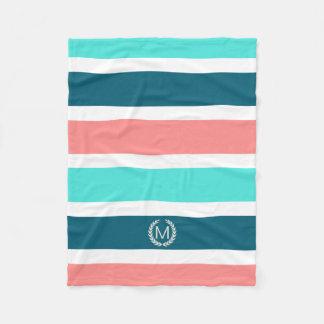 Coral, Turquoise & Teal Striped Monogram Fleece Blanket