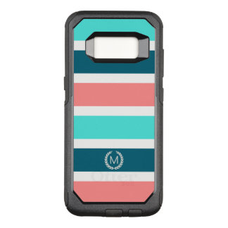 Coral, Turquoise & Teal Striped Monogram OtterBox Commuter Samsung Galaxy S8 Case