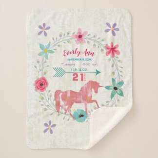 Coral  Unicorn Baby Girl Stats Watercolor Wreath Sherpa Blanket