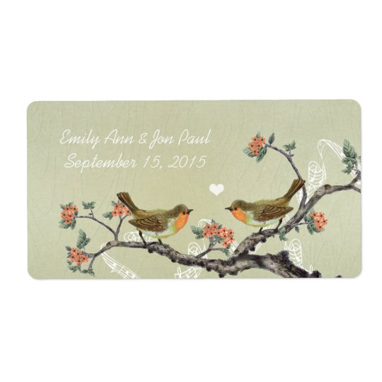 Coral Vintage Birds Wood Grain Rice Paper Shipping Label