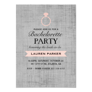 Coral Vintage Poster Ring Bachelorette Invitation