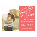 Coral Vintage Script Photo Save the Date Post Card