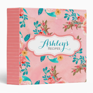 Coral Watercolor Floral Personalized Recipe Girly 3 Ring Binders