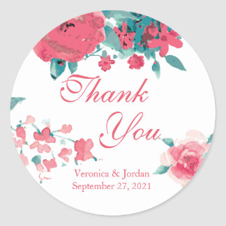 Coral Watercolor Floral Thank You Stickers