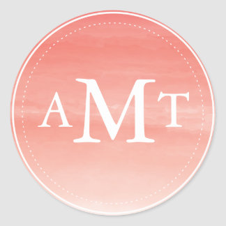 Coral Watercolor Ombre Monogram Round Sticker