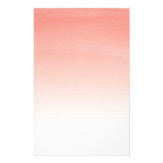 Coral Watercolor Ombre Stationery Sheets