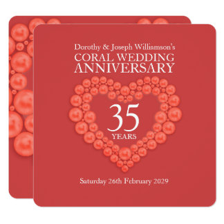 Coral wedding anniversary 35 years party invites