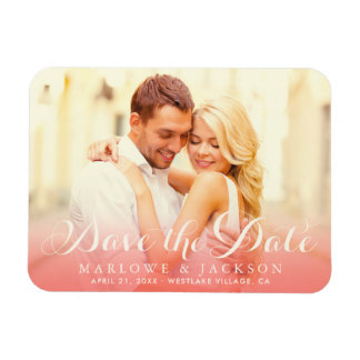 Coral Wedding Photo Save the Date | Ivory Script Magnet