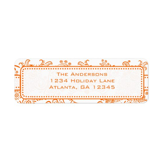 Coral Whimsical Love Bird Swirls Return Address Return Address Label