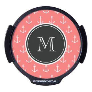 Coral White Anchors Pattern, Black Monogram LED Window Decal