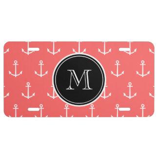 Coral White Anchors Pattern Black Monogram License Plate