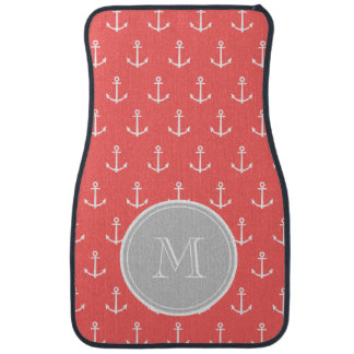 Coral White Anchors Pattern, Gray Monogram Floor Mat