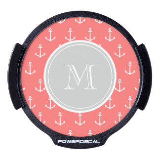 Coral White Anchors Pattern, Gray Monogram LED Car Window Decal