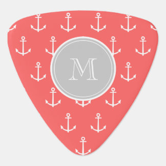 Coral White Anchors Pattern, Gray Monogram Guitar Pick