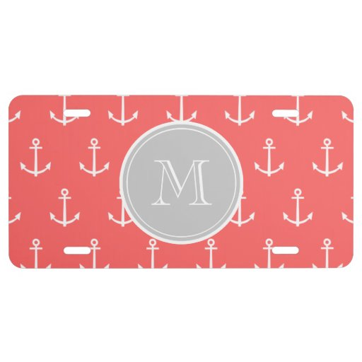 Coral White Anchors Pattern, Gray Monogram License Plate