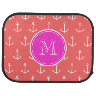 Coral White Anchors Pattern, Hot Pink Monogram Auto Mat