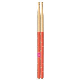 Coral White Anchors Pattern, Hot Pink Monogram Drum Sticks