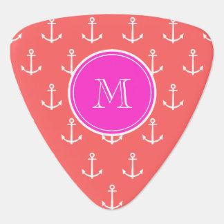Coral White Anchors Pattern, Hot Pink Monogram Pick